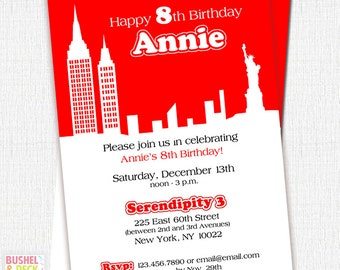 NYC Annie Party Invitatioins - Personalized Invites - PRINT & SHIP or Digital File