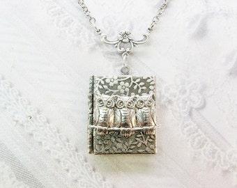 Silver Locket Necklace - Silver Owls on a Branch Book Locket - by BirdzNbeez