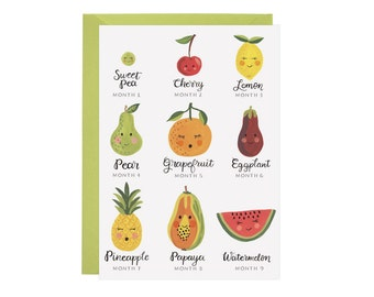 Fruit Pregnancy Months - Card