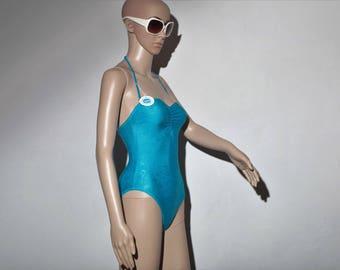 Swimsuit 70 s T36 1 blue piece