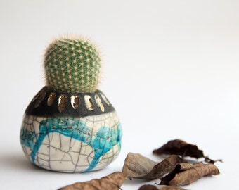 dripping planter pot for cactus in raku ceramic white and mint