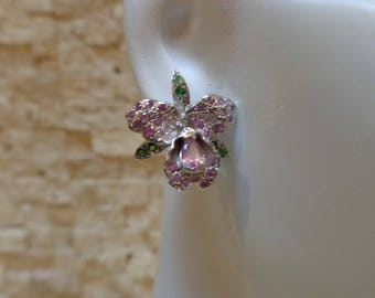 Emerald and Pink Sapphire Orchid stud earrings in Sterling Silver