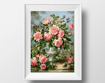 flower cross stitch pdf floral cross stitch rose cross stitch rose embroidery xstitch counted cross stitch watercolor cross stitch cute boho