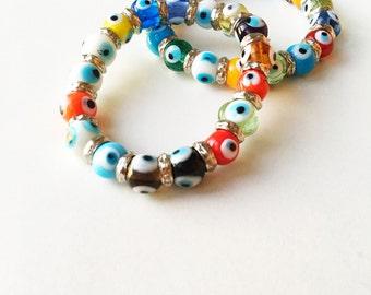FREE SHIPPING, Evil eye charm bracelet, glass evil eye bracelet, evil eye bangle bracelet, colorful evil eye bracelet, turkish evil eye