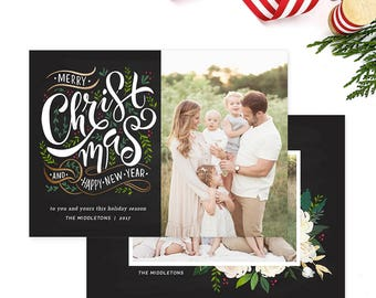 Christmas Photo Card, Christmas Card Template, Christmas Photography Template, Christmas Card Printable, Holiday Photo Cards HC315
