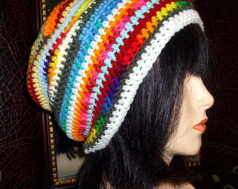 DARE To Be Different Crochet Slouch Hat, Winter Hat, Multi Color Slouch, Crochet Beanie,