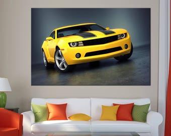 Chevrolet Camero Sports Car Canvas Print wall art canvas print colorful sport car Wall Split Art Multi Panel Multi-Sized Canvas print