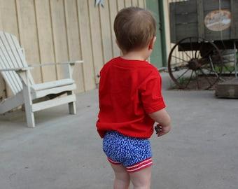 4th of july shorts - fourth of july shorts - organic baby shorts- patriotic shorts - baby shorts - shorties - harem shorts - memorial day