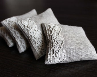 Natural Linen Lavender Sachets with Lace, a Set of 4