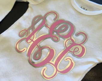 Baby monogrammed bodysuit- perfect for announcement, gift, baby shower!