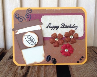 Coffee Happy Birthday Card, Coffee Beans, Coffee Steam, Hand Decorated, Handmade Card, Card for Her or Him,Greeting Card, Die Cut Tag, Gems