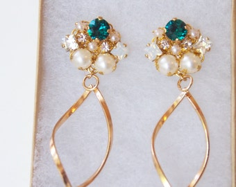 Emerald Swarovski white opal Swarovski crystal Swarovski earrings green stone cluster earrings bridal jewelry wedding jewelry gift for her