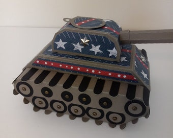 Patriotic Tank Gift Box& Army Men , Birthday, Father's Day-Free Shppg