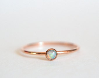 14k Solid ROSE Gold Opal Ring, 14k Rose Gold Opal Ring, Opal Ring 14k Rose Gold, Pink Gold Ring, Stacking Ring, Stackable Ring