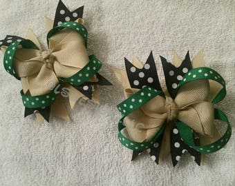 Khaki and green hair bow set
