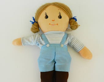 Vintage Rag Doll Boy, Collectible Doll,1980's  Rag Doll,Retro Gift,Retro Doll,Vintage Doll,Boy Doll,Handmade Doll,Fabric Doll