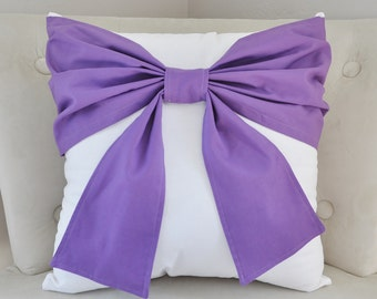 Lavender Home Decor -Bow Throw Pillow - Throw - Bed Pillow - Lavender Decorative Pillow Purple Home Decor