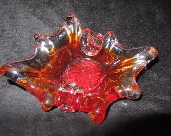 Vintage Blood Orange, Ruffled Edges, Amberina Ashtray