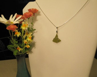 SALE *Olive green sea glass necklace