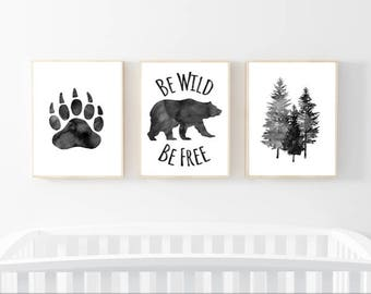 Be Wild and Free,Nursery Wall Art,set of 3,Little Man,Be wild,be free,wildlife,woodland,gray,watercolor,Boys,Nursery Print,gift, Boys Room