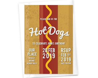 Hot Dog Invitation BBQ Party Cookout Invitation Sausage Frankfurter Wiener Kid's Birthday Children's Invitation Food Eating Birthday Invites