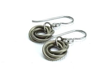 Bronze Color Niobium Earrings for Sensitive Ears, Mobius Love Knot, Brown Chainmaille Eternity Hypoallergenic Earrings, Titanium Earrings