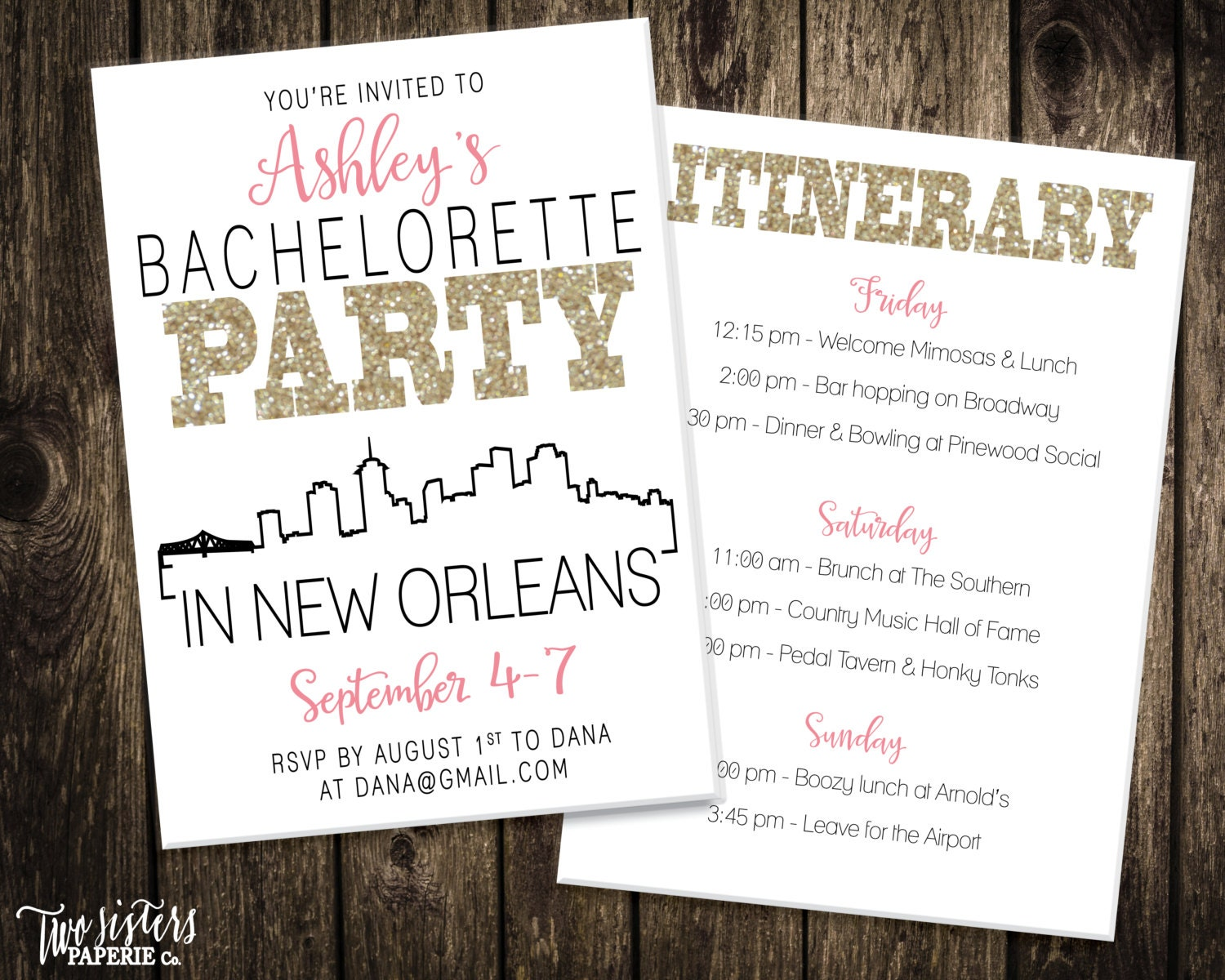 New Orleans Bachelorette Party Invitation and Itinerary NEW