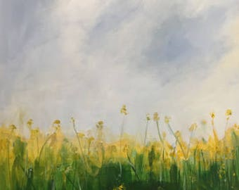 large landscape painting 30x40 spring meadow yellow and green sky painting pamela munger