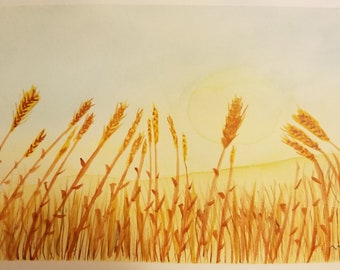 Wheat Field Original Watercolor Painting