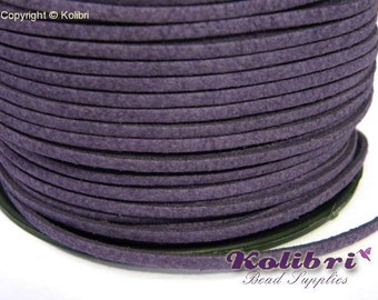 1x 3m Flat Faux Suede Cord 3mm - Purple