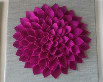 Magenta Dahlia in a gray background !