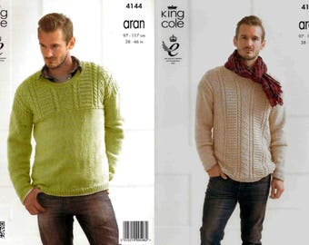 """King Cole Knitting Pattern 4144~Cabled Sweaters~Aran~38-46"""""""