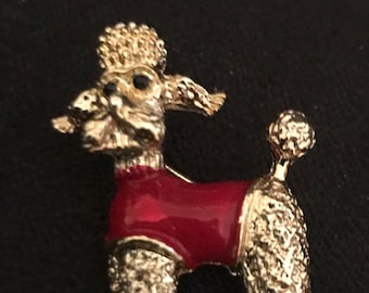 Vintage Jewelry Poodle 1960's Brooch Gerry's Signed Brooch with Red Sweater Goldtone