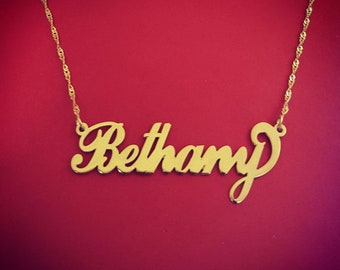 Name chain gold gift for girlfriend 14kt gold name necklace 14 karat gold name necklace bethany name necklace bethany necklace