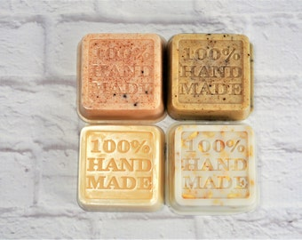 Goat Milk Soap: Lavender Honey Lemon, Vanilla Mocha Swirl Coffee, Snickerdoodle crumb, Sara's Apple Pie   Square soap   Gift