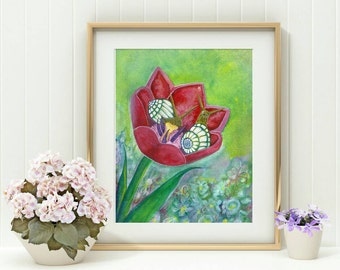 Oracle Deck Art - Snail Print - Snail Art - Watercolor Snails Print - Tulip Art - Watercolor Print - Snail Illustration - Nature Painting