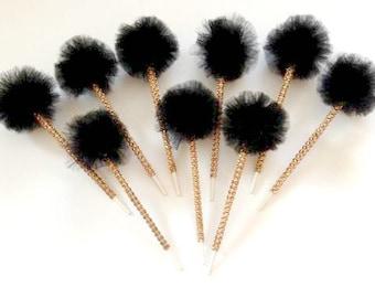 Black Tulle Poms on Sparkle Stick-Halloween Poms-Tulle Poms-Pom Poms