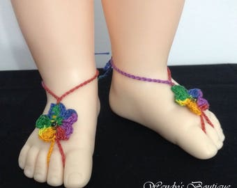 Baby Birthstone Barefoot Sandals -Pair (May)