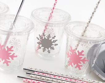Snowflake Cups - Snowflake Party Cups Winter Onederland Girl First Birthday Winter Wonderland Party Supplies Snow in Love Winter Decor  sc 1 st  Etsy & Snowflake party | Etsy