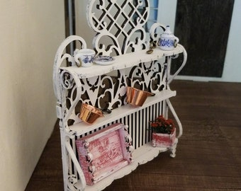 Miniature dollhouse baker's rack wrought iron style 1:12 scale white or unfinished