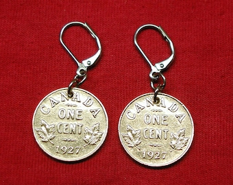 1927 Earrings made with canadian pennies from 1927