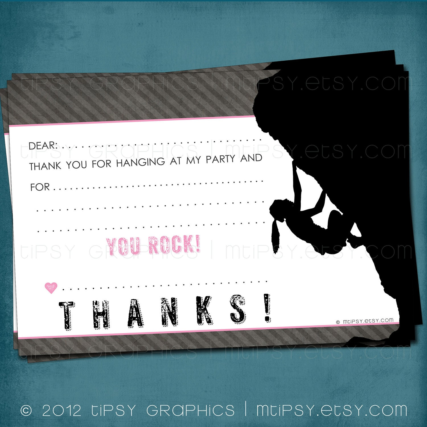 You rock rock climbing party thank you note for big kids by zoom monicamarmolfo Images