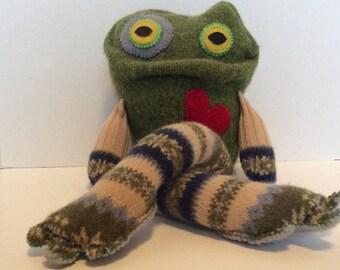 Handmade repurposed sweater frog. Stuffed frog.