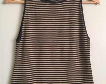 Vintage Ralph Lauren Polo Jeans 90's Stripe Cotton Tank XL Fitted (Crop?) Black and tan