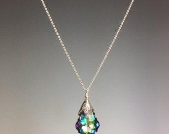 Swarovski Crystal Necklace - Swarovski Jewelry - Swarovski Pendant - Adjustable Chain - Baroque Crystal - Colorful Jewelry -Twinkle Necklace