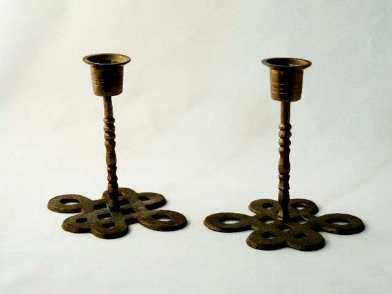 Pair Vintage Brass CHINESE CANDLESTICKS Candle Holders Engraved Openwork Bases