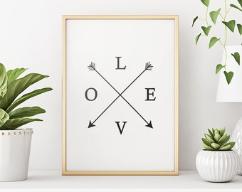 Printable Art: Love Typography Print Poster, Home Decor Love Sign, Black and White Art, Love Print *Instant Download, Buy 2 Get 1 Free*