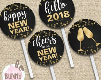 INSTANT DOWNLOAD New Year 2018 Printable Cupcake Toppers