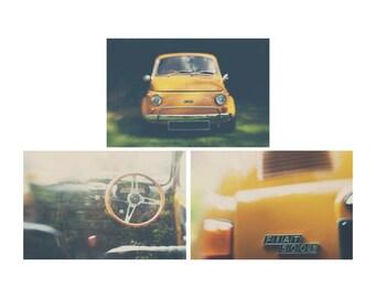 vintage car photograph Fiat 500 photograph mustard wall decor vintage car print Fiat 500 print nursery wall art hipster style