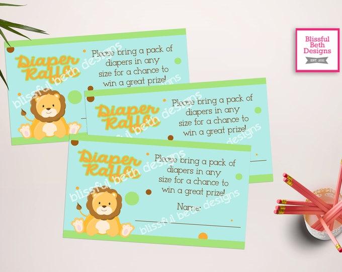 SAFARI DIAPER RAFFLE Safari Diaper Raffle Ticket, Diaper Raffle Ticket, Shower Diaper Raffle, Safari, Pastel Safari Diaper Raffle